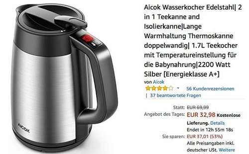 Aicok 1.7L Wasserkocher Edelstahl 2 in 1 - jetzt 28% billiger