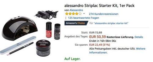 alessandro Striplac Starter Kit für die UV/LED-Nagellack-Maniküre - jetzt 31% billiger