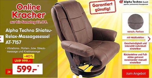 Alpha Techno Shiatsu-Relax-Massagesessel AT-7157 mit Heizfunktion in Braun oder Grau - jetzt 14% billiger