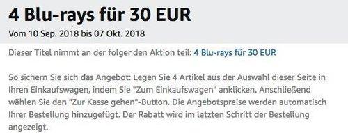 Amazon Aktion: 4 Blu-rays für 30 EUR bis 07 Okt. 2018 - jetzt 49% billiger