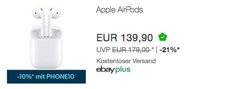 Apple Airpods In-Ear-Kopfhörer (MMEF2ZM/A) - jetzt 10% billiger