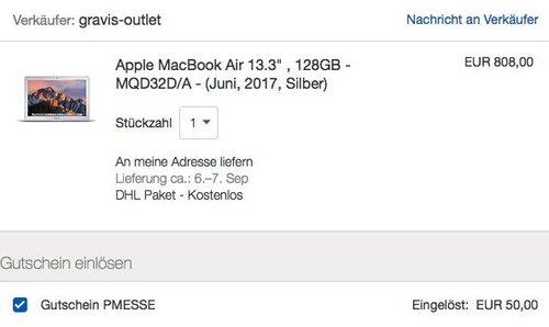 """Apple MacBook Air 13.3"""" ,128GB SSD, i5, 8GB RAM (MQD32D/A) - jetzt 6% billiger"""