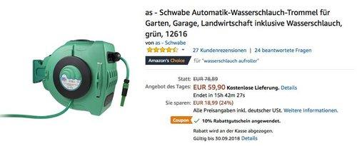 as - Schwabe Automatik-Wasserschlauch-Trommel mit 20 Meter langem PVC-Gewebeschlauch - jetzt 36% billiger