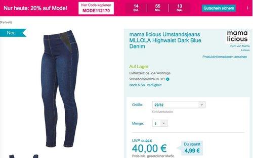 Babymarkt.de - 20% Rabatt auf Mode am 16.09.18: z.B. mama licious Umstandsjeans MLLOLA - jetzt 20% billiger
