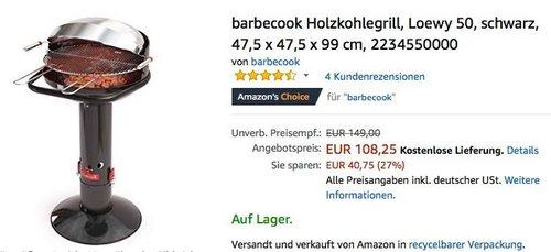 barbecook Holzkohlegrill Loewy 50 - jetzt 24% billiger