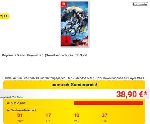 Bayonetta 2 inkl. Bayonetta 1 (Downloadcode) Switch Spiel - jetzt 12% billiger
