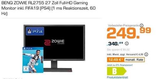 BENQ ZOWIE RL2755 27 Zoll Full-HD Gaming Monitor inkl. FIFA19 (PS4) - jetzt 19% billiger