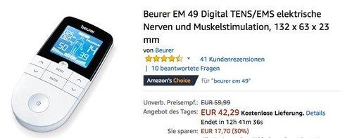 Beurer EM 49 Digital TENS/EMS Reizstromgerät für elektrische Nerven und Muskelstimulation - jetzt 22% billiger