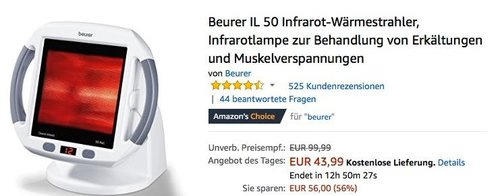 Beurer IL 50 Infrarot-Wärmestrahler zur Behandlung von Erkältungen und Muskelverspannungen - jetzt 20% billiger