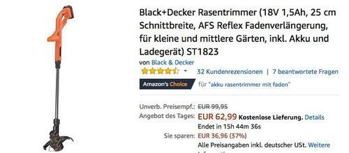 Black Decker 18V Rasentrimmer  ST1823 inkl. Akku und Ladegerät - jetzt 31% billiger