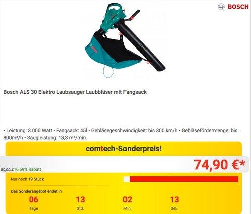 Bosch ALS 30 Elektro Laubsauger Laubbläser mit Fangsack - jetzt 12% billiger