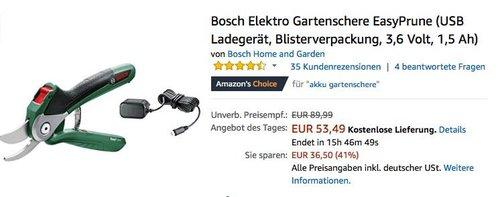 Bosch Elektro Gartenschere EasyPrune - jetzt 19% billiger