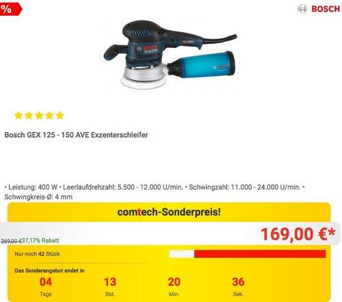 Bosch GEX 125 - 150 AVE Exzenterschleifer 400 Watt - jetzt 12% billiger
