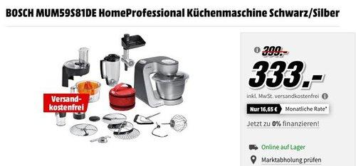 BOSCH MUM59S81DE HomeProfessional Küchenmaschine in Schwarz/Silber - jetzt 17% billiger