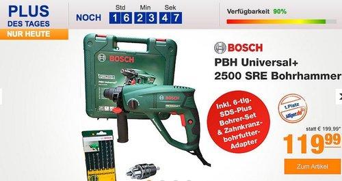 Bosch PBH Universal+ 2500 SRE Bohrhammer inkl. 6-tlg. SDS-Plus Bohrer-Set - jetzt 8% billiger