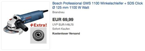 Bosch Professional GWS 1100 Winkelschleifer im Karton + SDS Click Ø 125 mm - jetzt 14% billiger