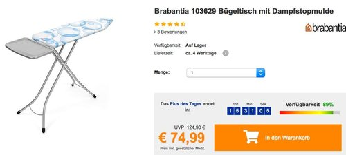 Brabantia 103629 Bügeltisch mit Dampfstopmulde, Bezug Bubbles - jetzt 17% billiger