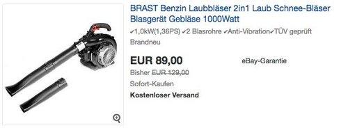 BRAST BRB-LS 3000 2in1 ECO Benzin-Laubbläser, 1,0kW (1,36PS) - jetzt 31% billiger