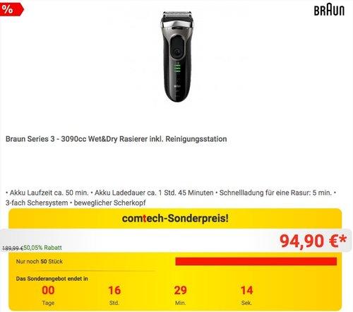 Braun Series 3 - 3090cc Wet&Dry Rasierer inkl. Reinigungsstation - jetzt 14% billiger