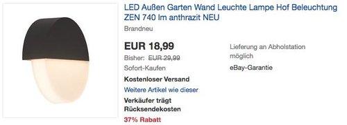 Brilliant Zen LED Außenwandleuchte,  9 Watt, 740 lm - jetzt 37% billiger