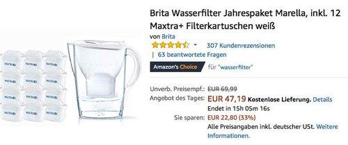Brita Wasserfilter Jahrespaket Marella mit 12 Maxtra+ Filterkartuschen - jetzt 20% billiger