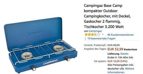 Campingaz Base Camp kompakter Outdoor Campingkocher mit Deckel - jetzt 27% billiger