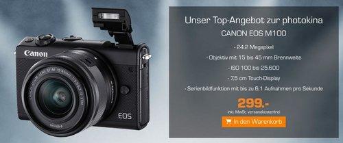 CANON EOS M100 Kit Systemkamera 24.2 Megapixel mit Objektiv 15-45 mm f/6.3 - jetzt 21% billiger