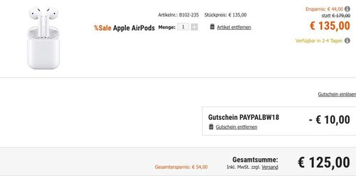 Cberport - Blue Weekend Aktion + 10€ PayPal Rabatt: z.B. Apple AirPods - jetzt 7% billiger