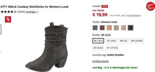 CITY WALK Cowboy Stiefelette im Western-Look - jetzt 28% billiger