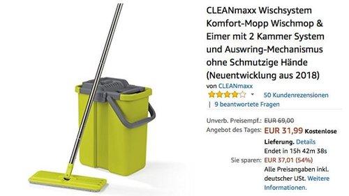 CLEANmaxx Wischsystem Komfort-Mopp Wischmop & Eimer - jetzt 20% billiger