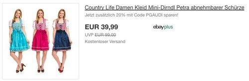 Country Life Damen Kleid Mini-Dirndl Petra mit abnehmbarer Schürze - jetzt 20% billiger