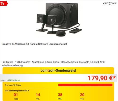Creative T4 Wireless 2.1 Kanäle Lautsprecherset in Schwarz - jetzt 25% billiger