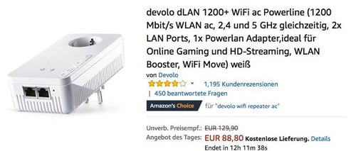 devolo dLAN 1200+ WiFi ac Powerline Adapter - jetzt 23% billiger