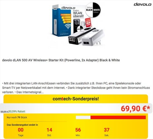 devolo dLAN 500 AV Wireless+ Starter Kit (Powerline, 2x Adapter) Black & White - jetzt 29% billiger