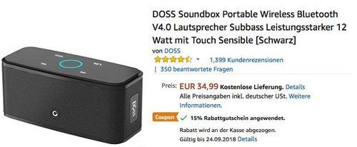 DOSS Soundbox Portable Wireless Bluetooth Lautsprecher mit Touch Sensible - jetzt 15% billiger