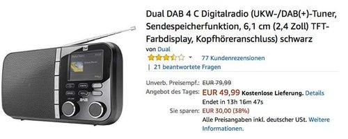 Dual DAB 4 C Digitalradio (UKW, DAB +) - jetzt 17% billiger