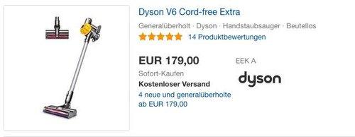 Dyson V6 Cord-free Extra Akku-Staubsauger generalüberholt inkl. 1 Jahr Garantie - jetzt 10% billiger