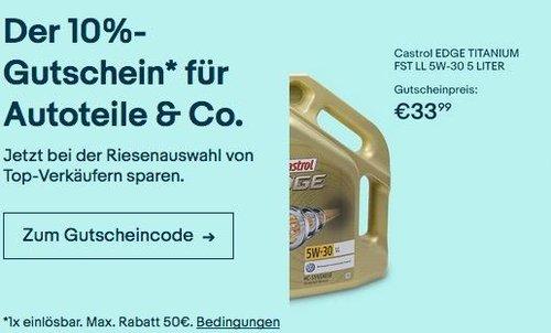 eBay 10% Gutschein auf ausgewählte Fahrzeugzubehör: z.B. Castrol EDGE 15669E TITANIUM FST LL 5W-30 5 L Motoröl - jetzt 10% billiger