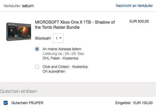 eBay - 100€ Herbstrabatt ab 500€ MBW: z.B. MICROSOFT Xbox One X 1TB - Shadow of the Tomb Raider Bundle - jetzt 20% billiger