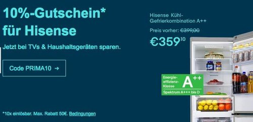 eBay - Aktion 10% Rabat auf Hisense TVs & Haushaltsgeräte: z.B. Hisense KGNF 285 A++ SI No Frost Kühl-Gefrierkombination - jetzt 10% billiger