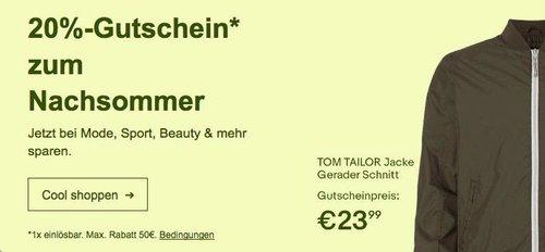 eBay - Aktion 20% Gutschein zum Nachsommer: z.B. TOM TAILOR Herren Jacke Stehkragen gerader Schnitt - jetzt 20% billiger