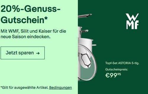 Ebay WMF, Split und Kaiser 20% Rabatt- Aktion: z.B. WMF Topf-Set Astoria 5-teilig - jetzt 20% billiger