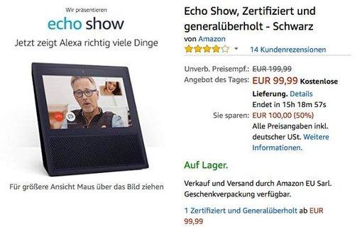 Echo Show, Zertifiziert und generalüberholt in Schwarz - jetzt 17% billiger