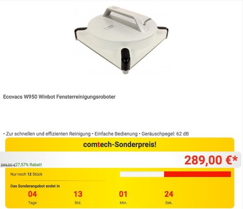 Ecovacs W950 Winbot Fensterreinigungsroboter - jetzt 23% billiger