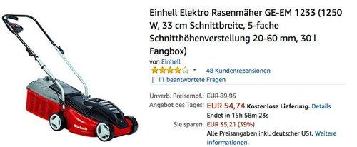 Einhell Elektro Rasenmäher GE-EM 1233 mit33 cm Schnittbreite - jetzt 36% billiger