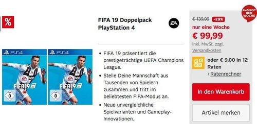 FIFA 19 Doppelpack PlayStation 4 - jetzt 24% billiger