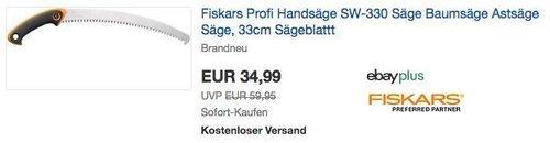 Fiskars Profi Handsäge SW-330, Baumsäge/Astsäge mit 33cm Sägeblattt - jetzt 22% billiger
