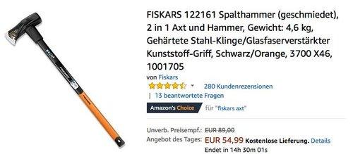 FISKARS X46 4,6 kg Spalthammer, 2 in 1 Axt und Hammer - jetzt 17% billiger