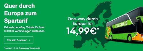 FLIXBUS Gutschein Europaticket Einzelfahrt - jetzt 67% billiger