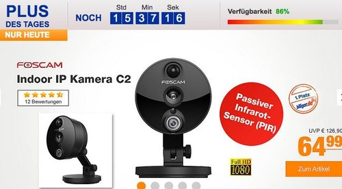 Foscam Indoor IP Kamera C2 in Schwarz - jetzt 28% billiger